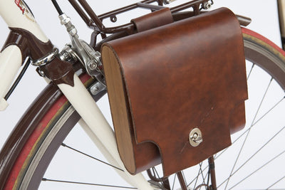 "Walnut Studiolo Bicycle Accessories Bicycle Leather Pannier Bag - The ""Pocket Pannier"" Dark Brown / Single"