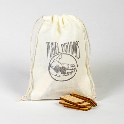 Walnut Studiolo Travel Games Travel Dominoes in a Muslin Bag