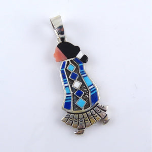 Inlaid Navajo Woman Pendant