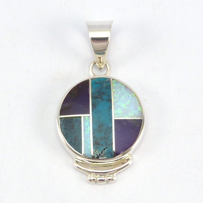half inlay moon silver necklace pendant