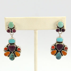 Turquoise, Variscite, and Shell Earrings