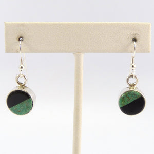 Turquoise and Black Jade Earrings