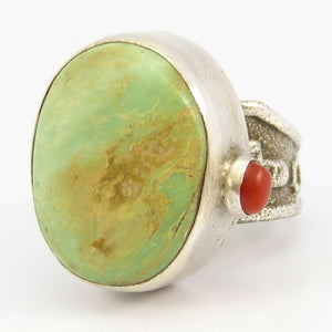 Turquoise and Coral Ring