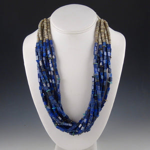 Lapis and Pen Shell Bead Necklace
