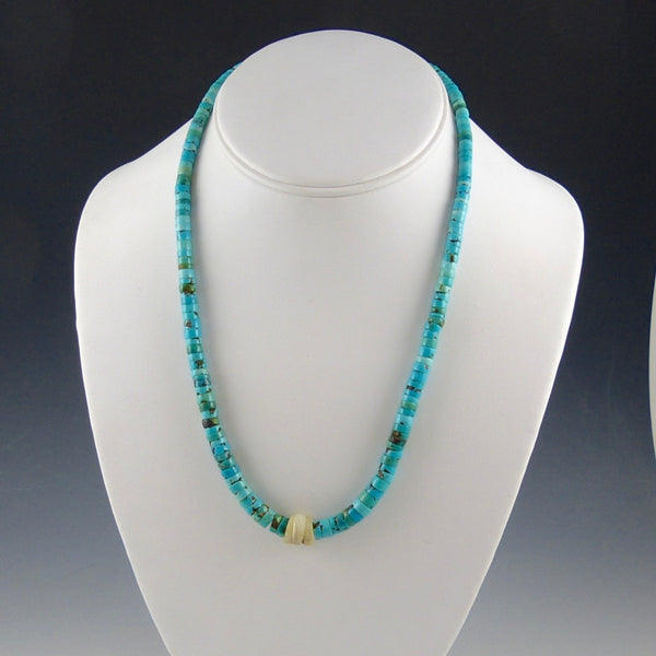 Turquoise and White Shell Necklace