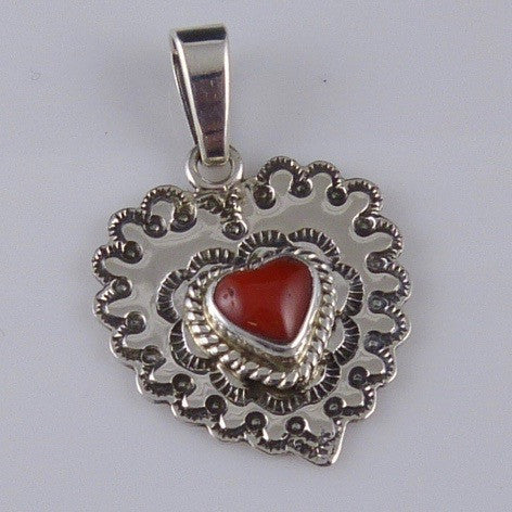Coral Heart Pendant