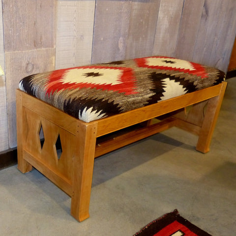 Juniper Bench with 1940s Navajo Rug