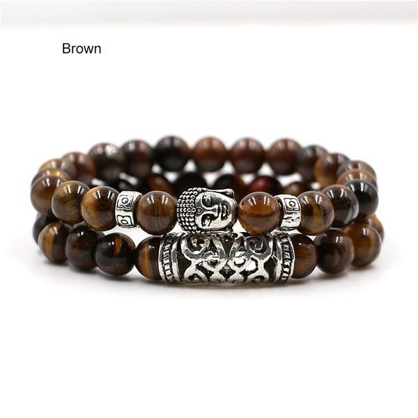 The Natural Buddha Chakra Bracelet Set for Men or Women (2 pieces/set) buy handmade bracelet