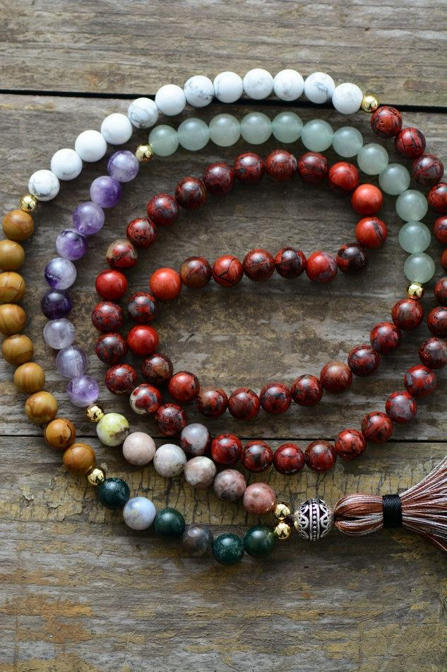 Chakra Necklace 8MM Natural Stone Tibetan Charm for Women buy handmade bracelet