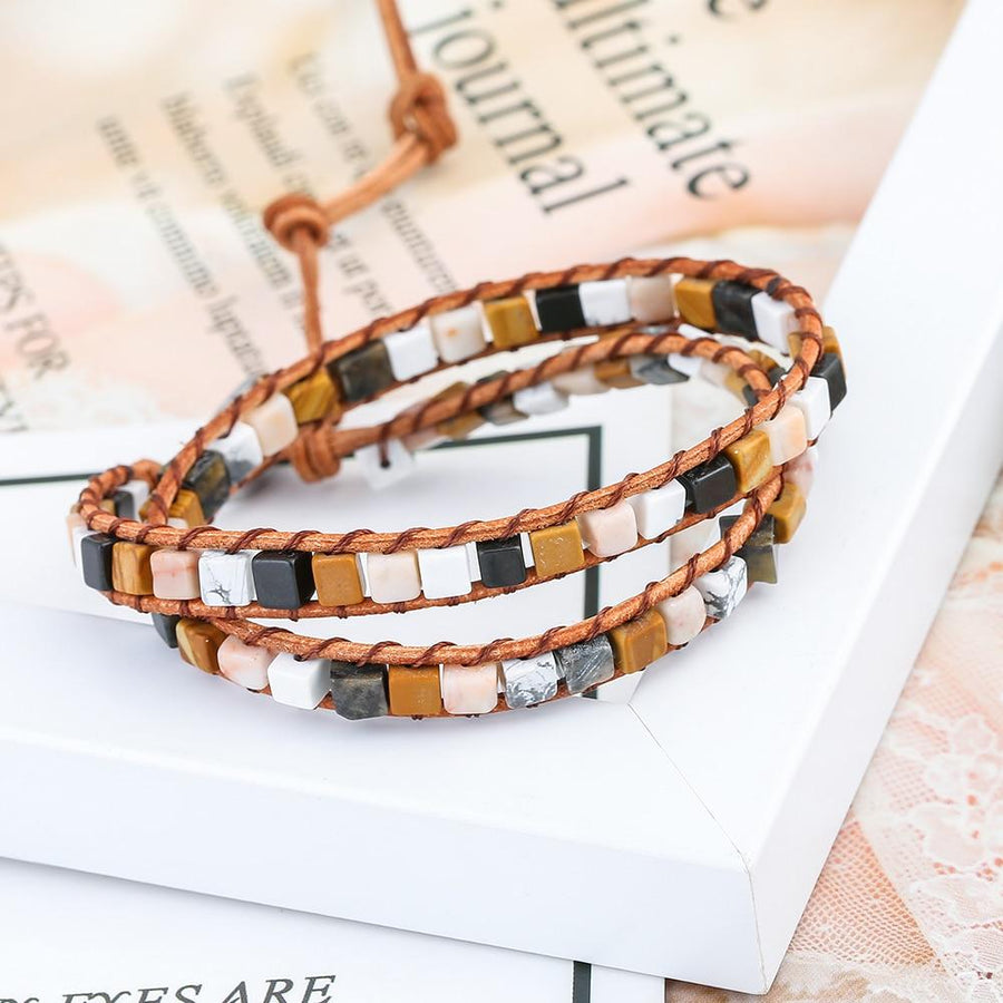 Natural Stones 2 strands bracelets with Leather buy handmade bracelet