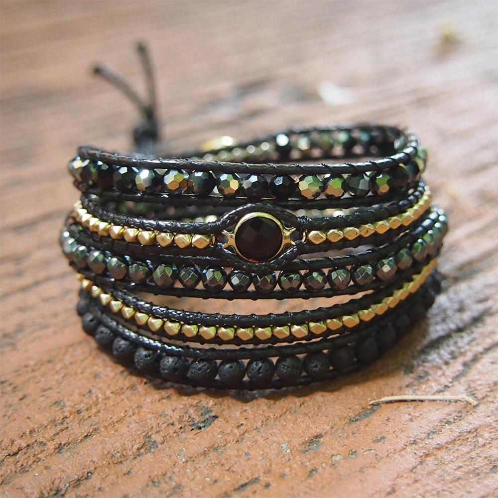 Bohemian Black Mixed Natural Stone bracelet buy handmade bracelet