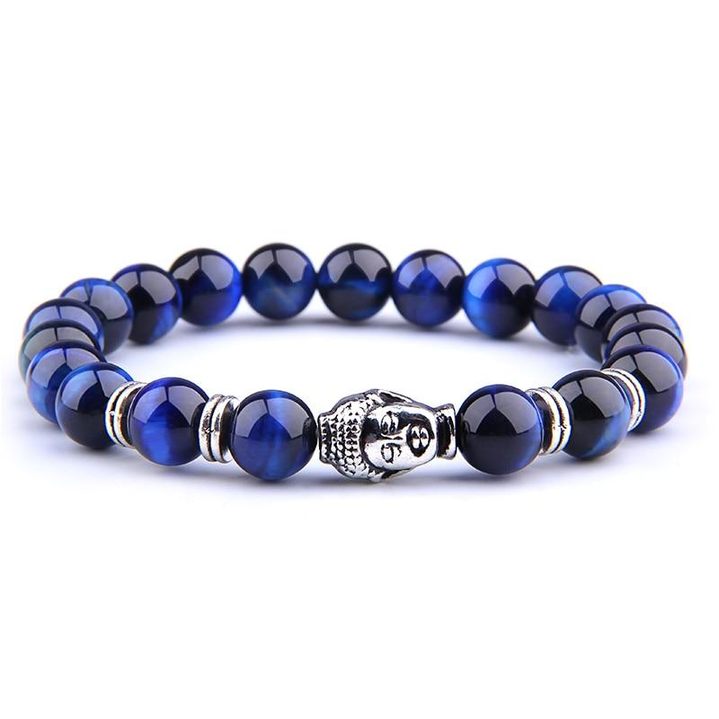 Royal Blue Tiger Eye Natural Stone Buddha Bracelet buy handmade bracelet