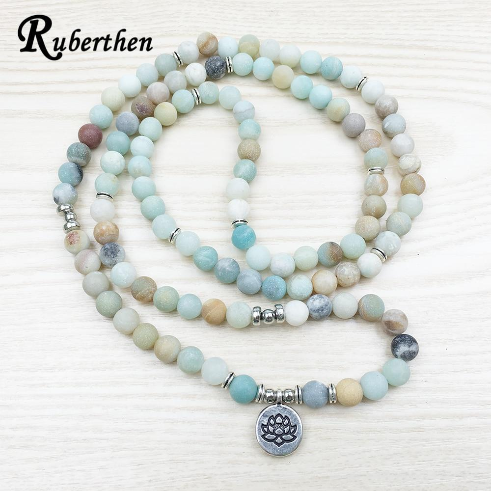 The Natural Amazonite 108 Mala Beads Bracelet/Necklace with a choice of 3 Charms buy handmade bracelet