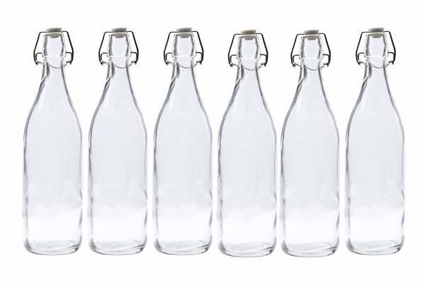 Glass Water Bottle Round 1 Litre - 6 Pack