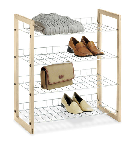 Whitmor Wood & Chrome Shoe Shelf
