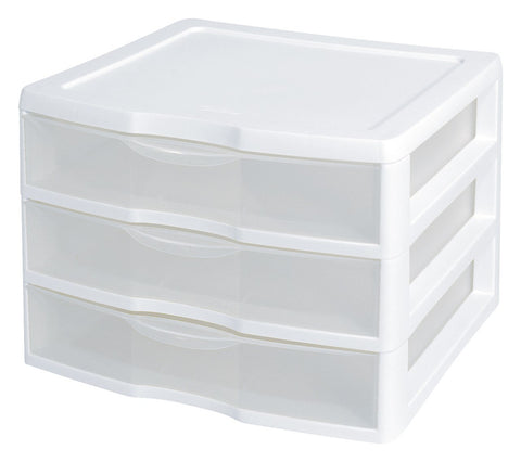 Sterilite 3 Drawer Unit Wide White