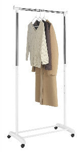 Whitmor Garment Rack Single Bar Extendable White