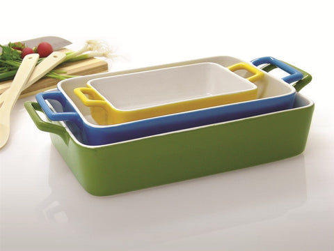 Bright Coloured Ceramic Baking Dish Set 3 Pce