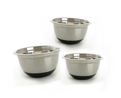 Stainless Steel Anti Skid Mixing Bowls With Rubber Base - Set 3
