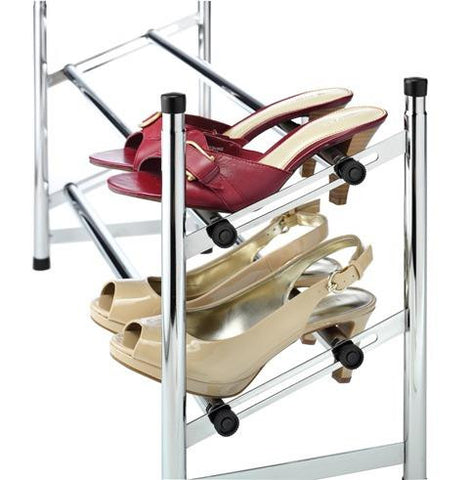 Whitmor Chrome 2 Tier Shoe Rack Expandable