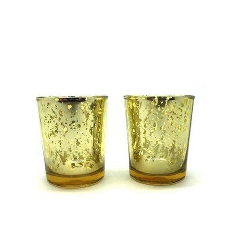 Glass Tealight Holder Gold Set 2