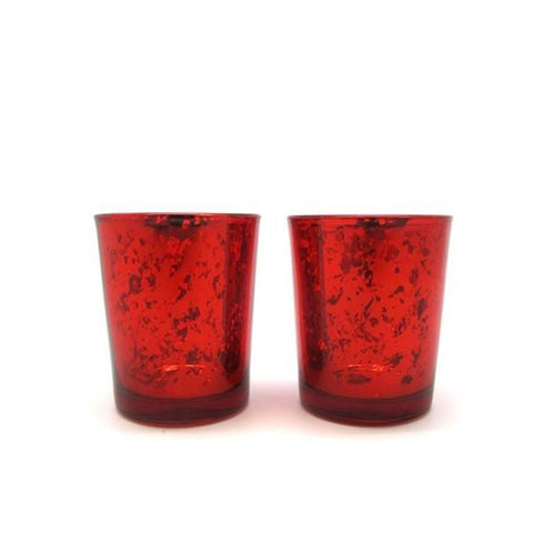 Glass Tealight Holder Red Set 2