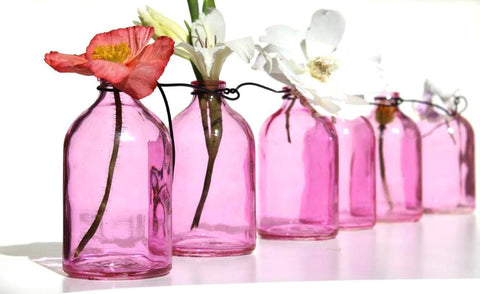 Hanging Glass Mini Bottles - Pink