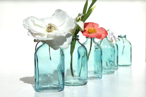 Hanging Glass Mini Bottles - Blue