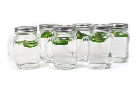 Glass Mason Jar with Handle & Tin Lid 6 Pack