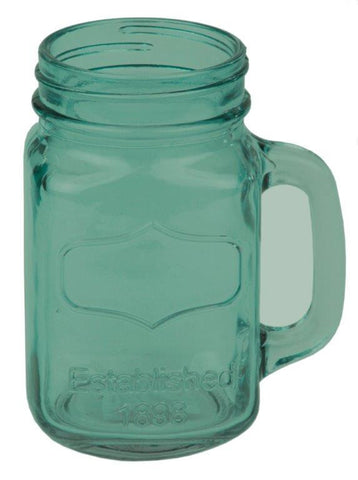 Glass Mason Jar with Handle Green - 6 Pack