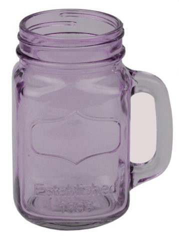 Glass Mason Jar with Handle Purple 6 Pack