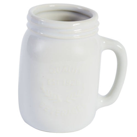 Mason Jar Ceramic Mug  - White