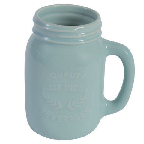 Mason Jar Ceramic Mug  - Blue