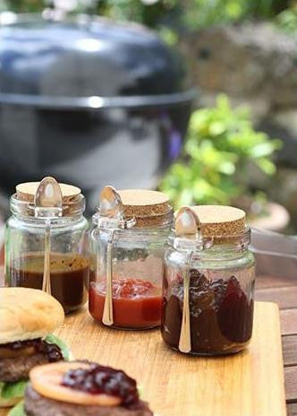 Glass Condiment Jars with Spoons & Tray