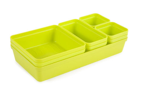 Core Kitchen Drawer Organiser 9pce Lime