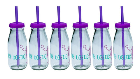639 my bottle x6 Glass bottle with lid and decal purple online nz