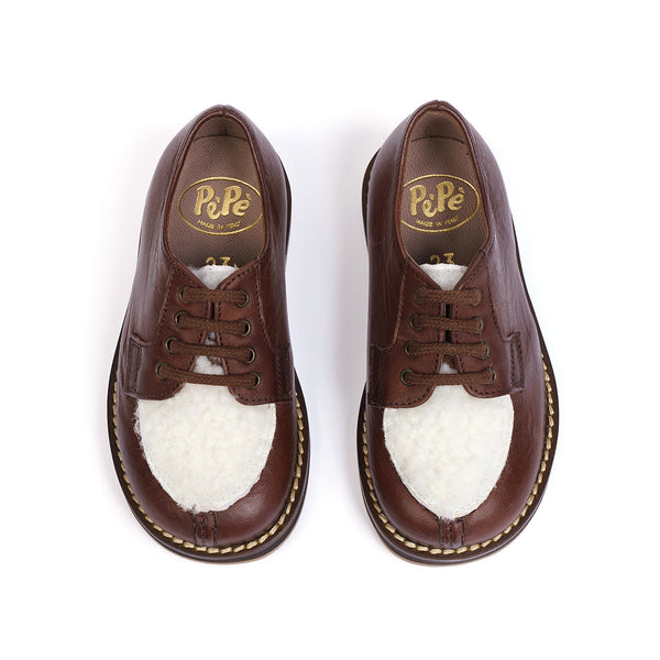 HAL - BROWN LACE UP LEATHER SHOES WITH FUR DETAIL