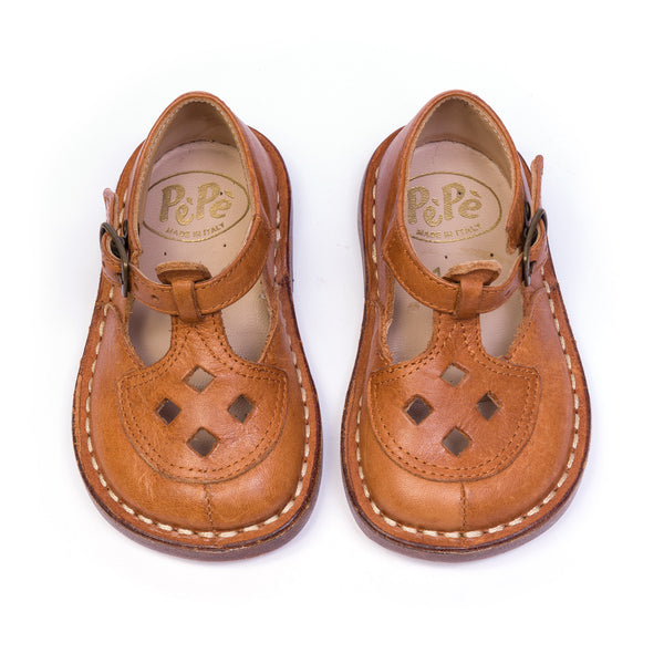 EZRA - BROWN T BAR LEATHER SHOES