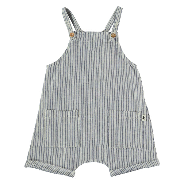 LINEN COTTON STRIPED BABY SHORTALLS