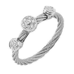 Charriol Celtic Classique 18K WG White Steel Diamond Ring 02-32-S832-11