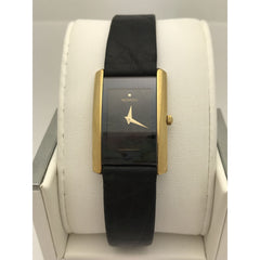 Movado Ladies Eliro Black Dial Black Leather Band Watch 0601906
