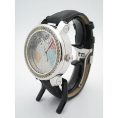 Freeze Men's Stainless Steel 1.50CT. Diamonds World Map Dial Watch FZ5466