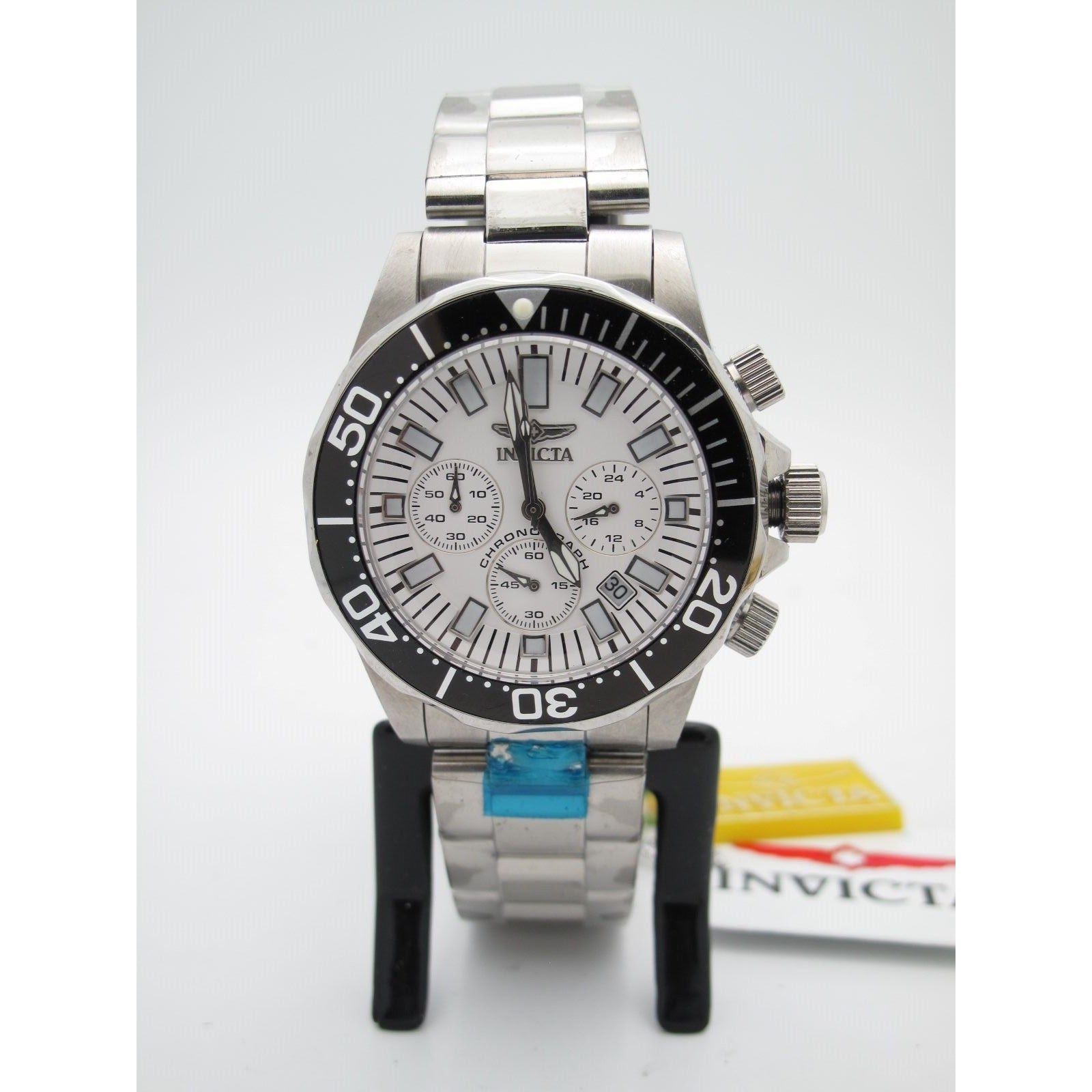 Invicta Men's Chronograph Stainless Steel Case and Bracelet White Dial Watch 7053
