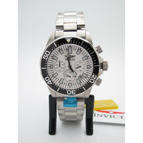 Invicta Men's Chronograph Stainless Steel Case and Bracelet White Dial Watch 705