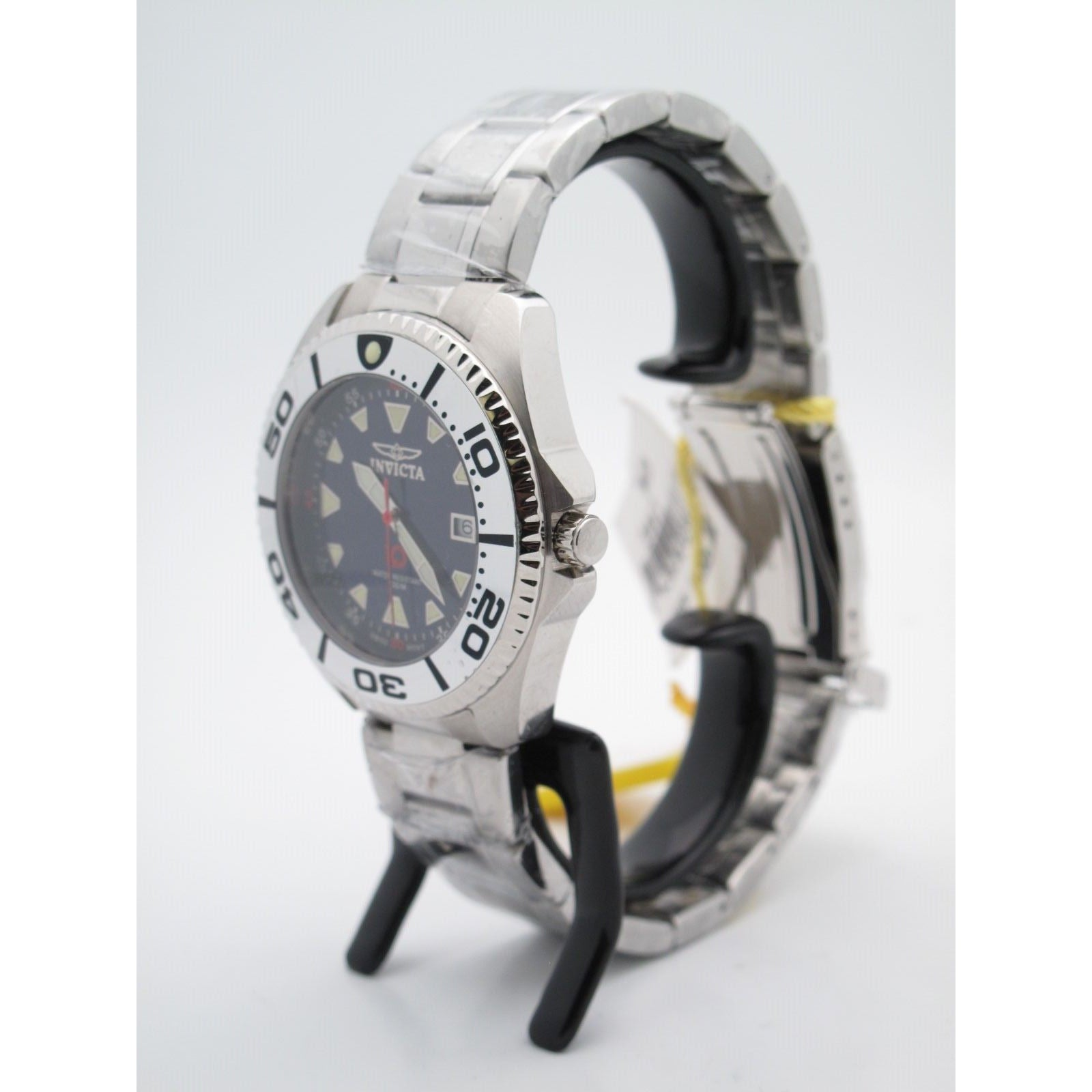 Invicta 10 Year Battery Men's Stainless Steel Black Dial Watch 3867