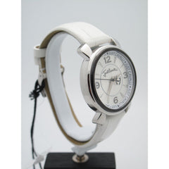 Just Cavalli Ladies Silver Dial White Leather Band Watch R7251179615-89031