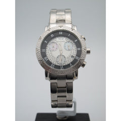 Techno Diezel Ladies Stainless Steel 0.06CT Diamonds Silver Chrono Dial Watch
