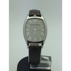 Emporio Armani LadiesSilver Dial Stainless Brown Leather 50M Watch AR2401