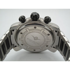 Stuhrling Original Men's Krysterna Black & Stainless Steel Gray Chronograph Dial Watch