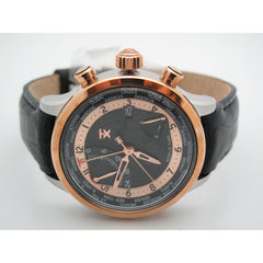 Timex TX Men's Fly-Back Chrono Rose Gold Tone Black Leather Band Watch T3C472
